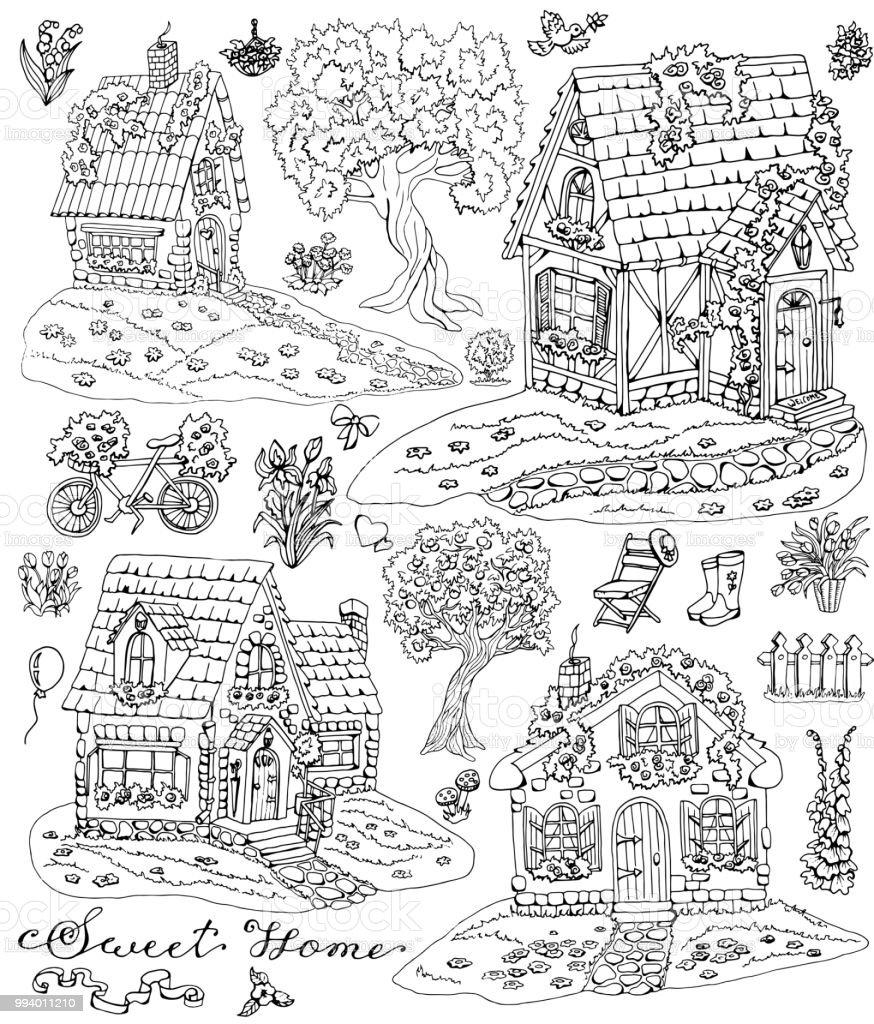 Coloriage Jardin Arbres.Coloriage Avec Chalets Mignons Des Arbres Des Fleurs Et Des Objets