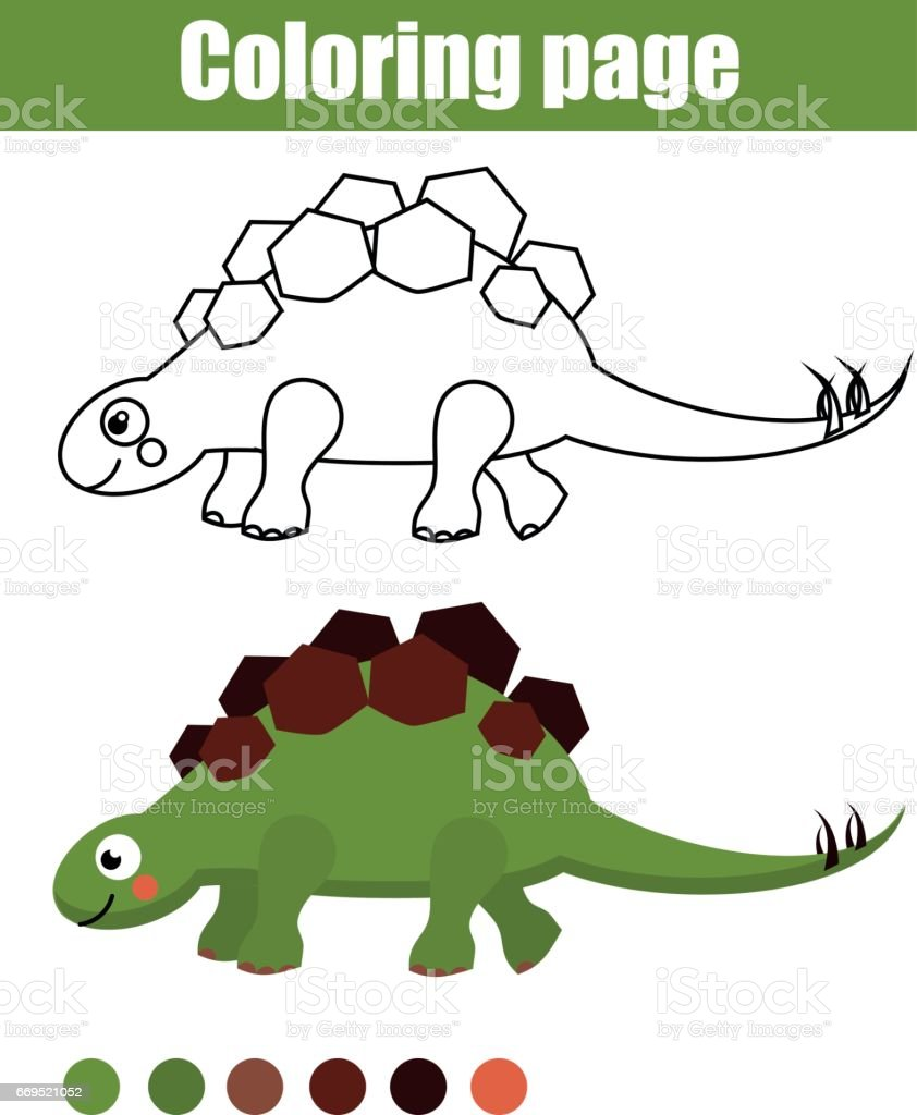 Página Para Colorear Con Dinosaurio Lindo Juego Educativo De Los ...