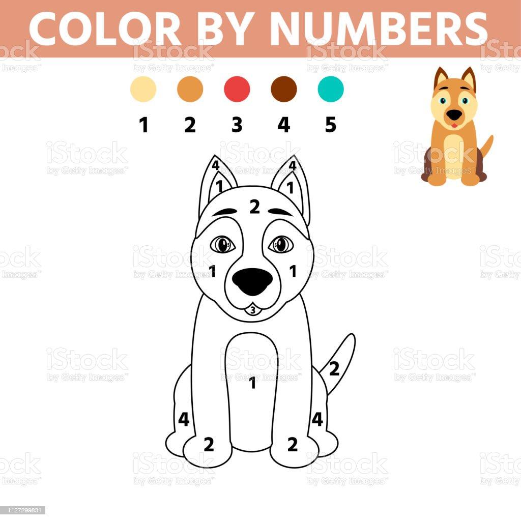 Coloriage Avec Chien Mignon Couleur De Jeu Educatif Enfants De