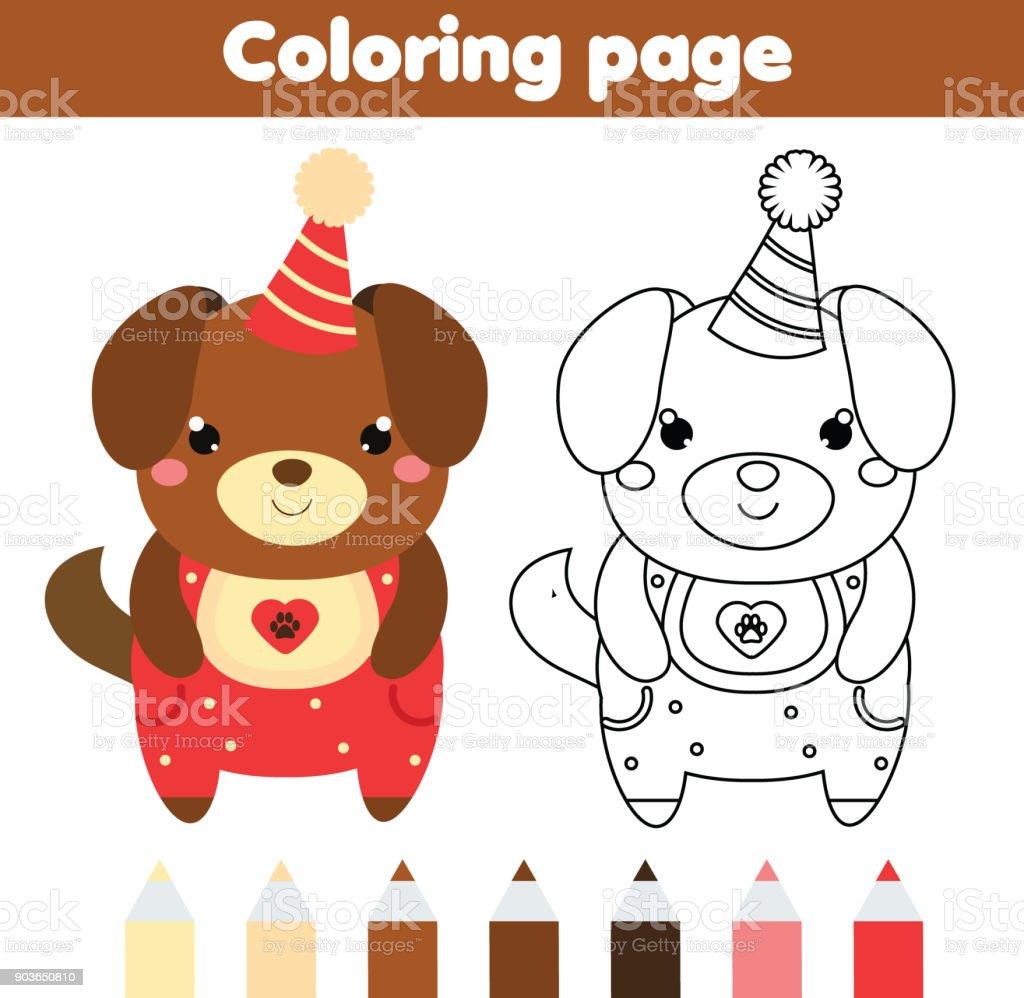 Ilustración De Página Para Colorear De Perro Lindo Dibujo Juego De