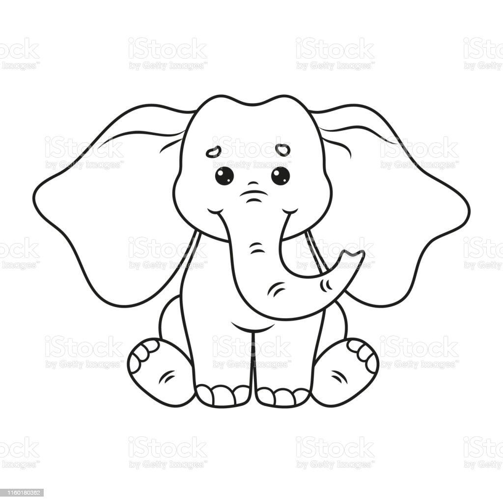 Ilustración De Página Para Colorear Con Elefante Lindo