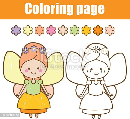 Ilustración de Página Para Colorear Con Carácter De Hadas Lindo ...