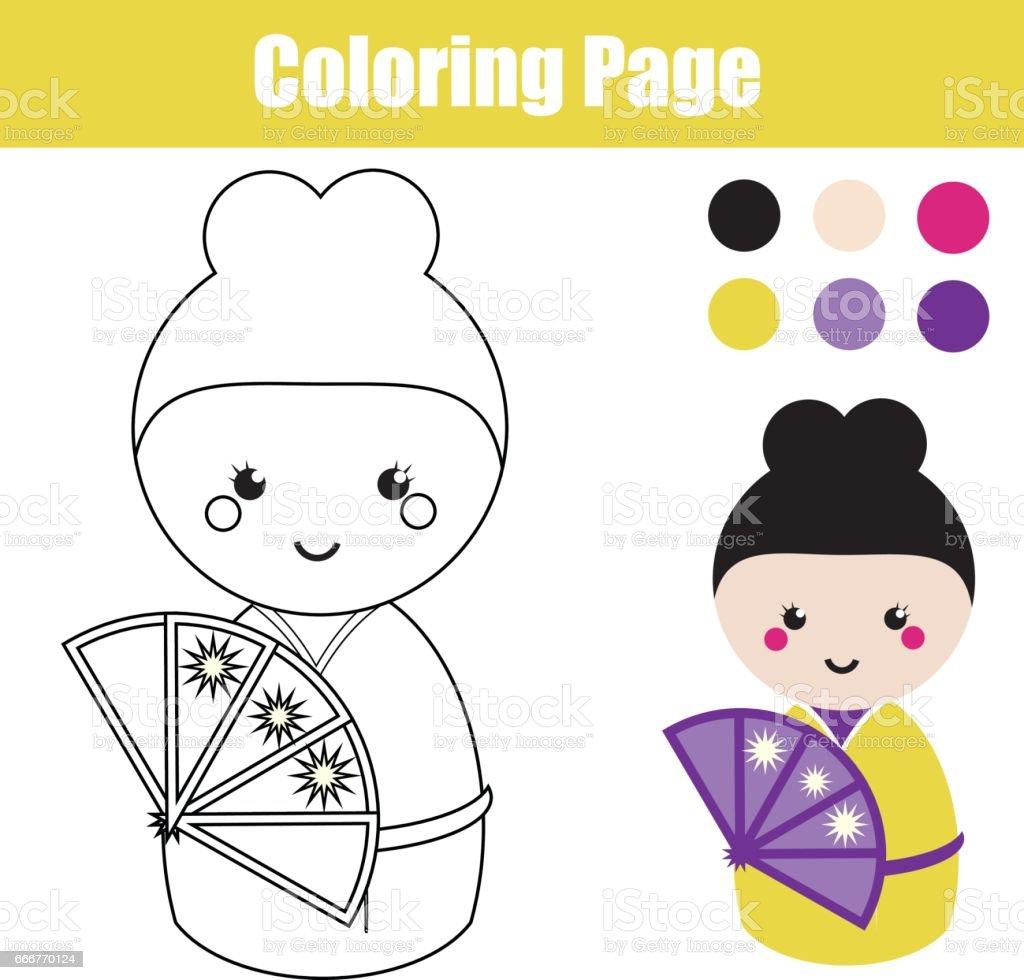 Sevimli Japon Kokeshi Bebek Ile Boyama Sayfası çocuk Eğitim Oyunu