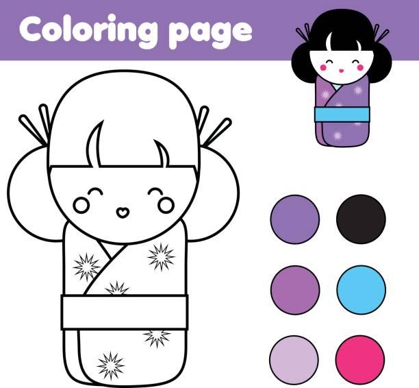 malvorlagen mit niedlichen japanischen kokeshi puppe. lernspiel für kinder, zeichnung aktivität - puppenkurse stock-grafiken, -clipart, -cartoons und -symbole