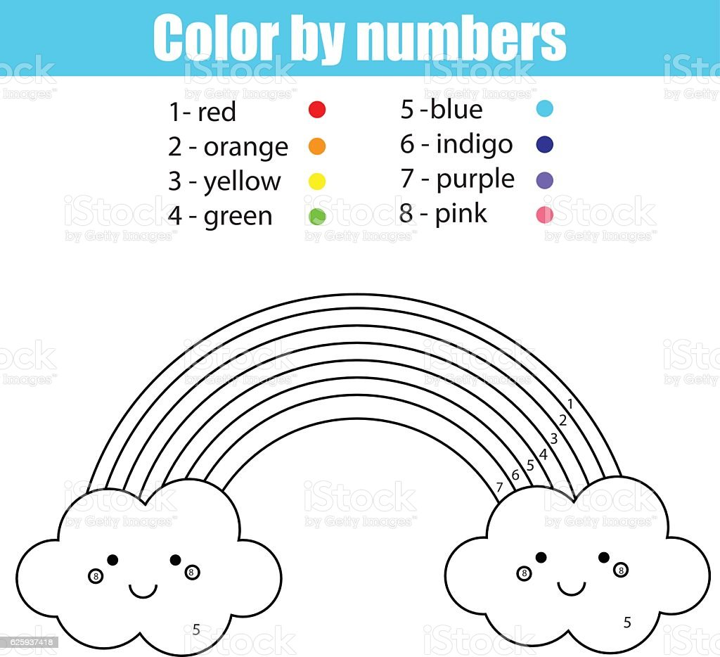 Coloring Page With Cute Kawaii Rainbow Color By Numbers Stok Vektör