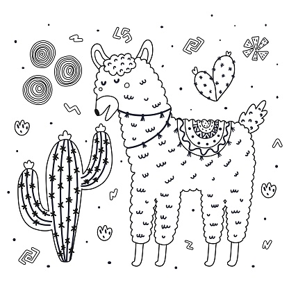 Coloring Page With Cute Llama Eating A Cactus Black And