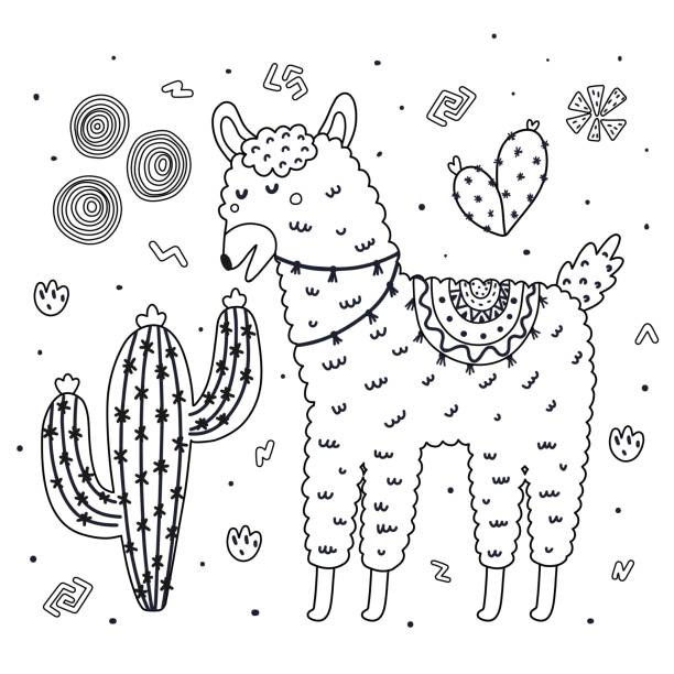 coloring page with cute llama eating a cactus. black and white background - coloring book pages templates stock illustrations