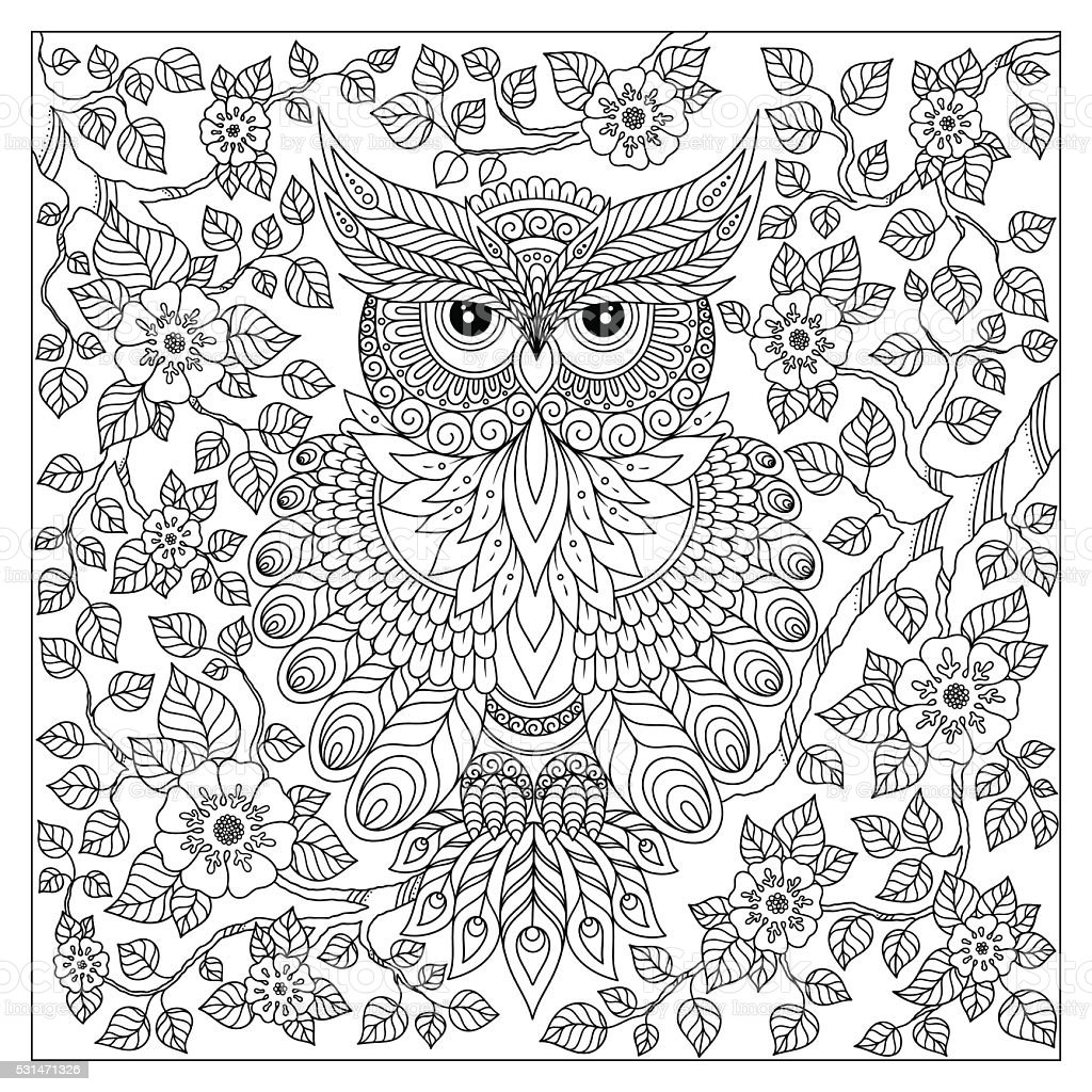 Owl simple patterns 2 - Owls Coloring Pages for Adults - Just ... | 1024x1024