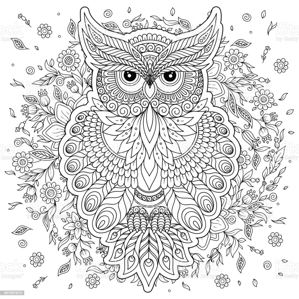 şirin Baykuş Ve çerçeve çiçek Boyama Sayfası Stok Vektör Sanatı