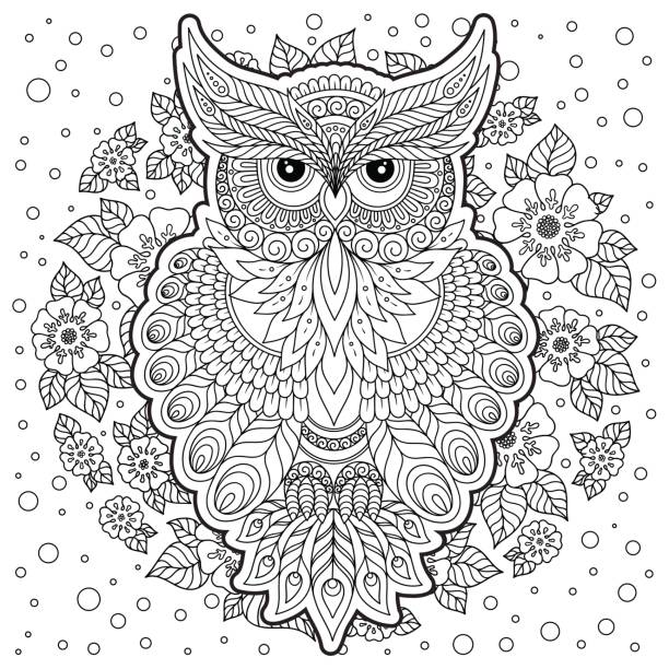Coloring page with cute owl and floral frame. vector art illustration