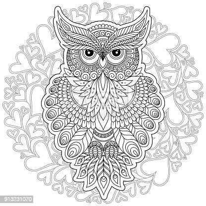 istock Página para colorear con búho lindo y marco flores. 958857690 ...