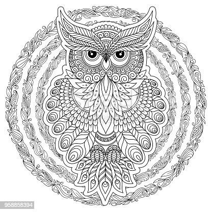 istock Página para colorear con búho lindo y marco flores. 957765078 ...