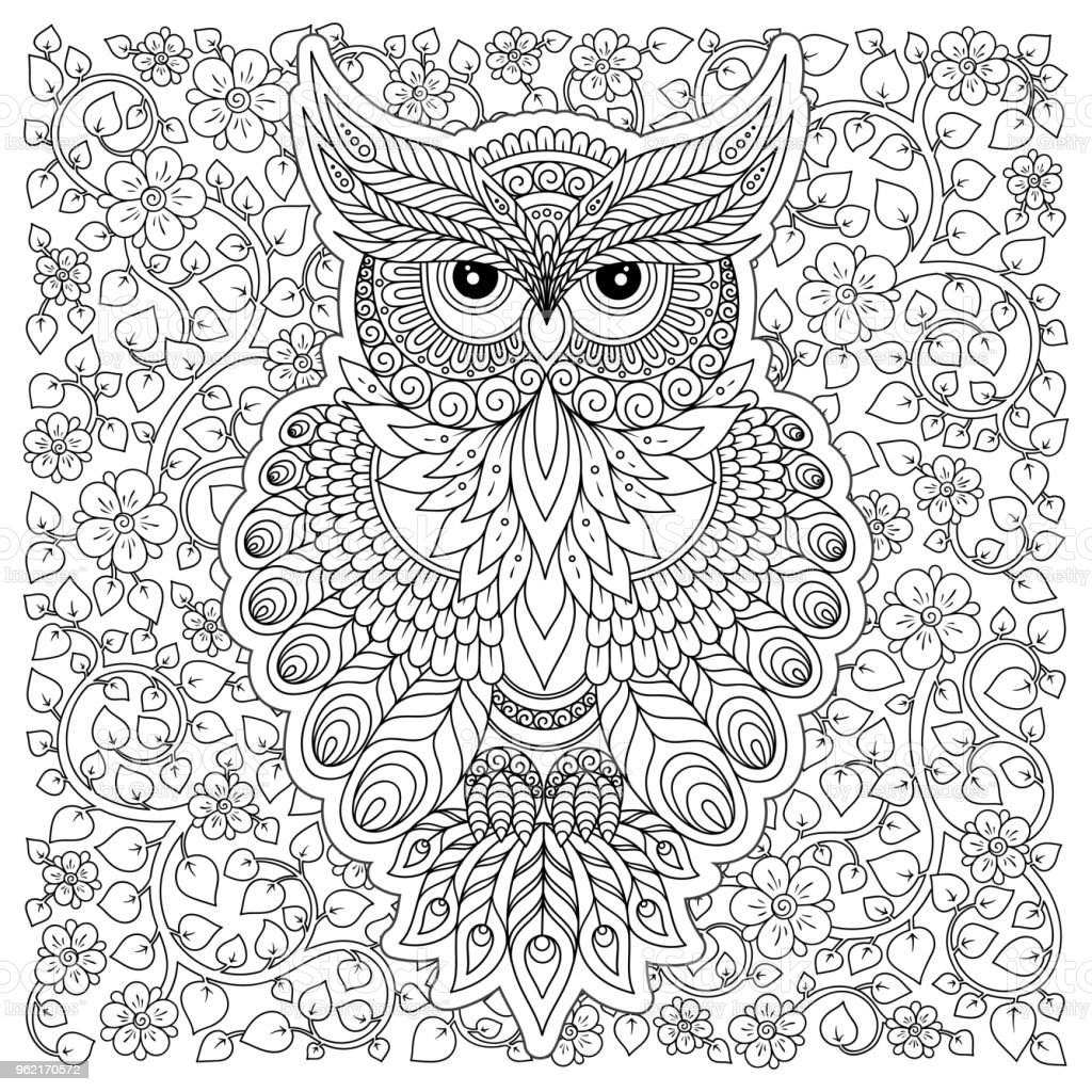 Coloring Page With Cute Owl And Floral Frame Stock Illustration Download Image Now Istock