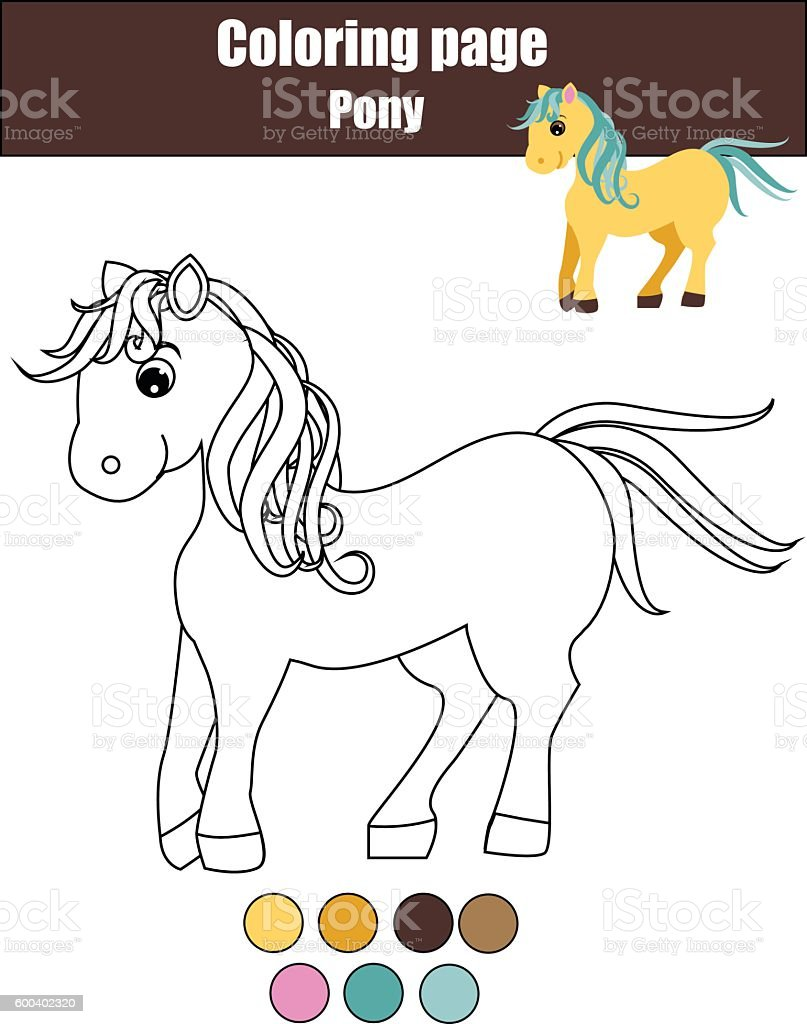 Coloring Page With Cute Pony Horse Educational Game Drawing Kids ...