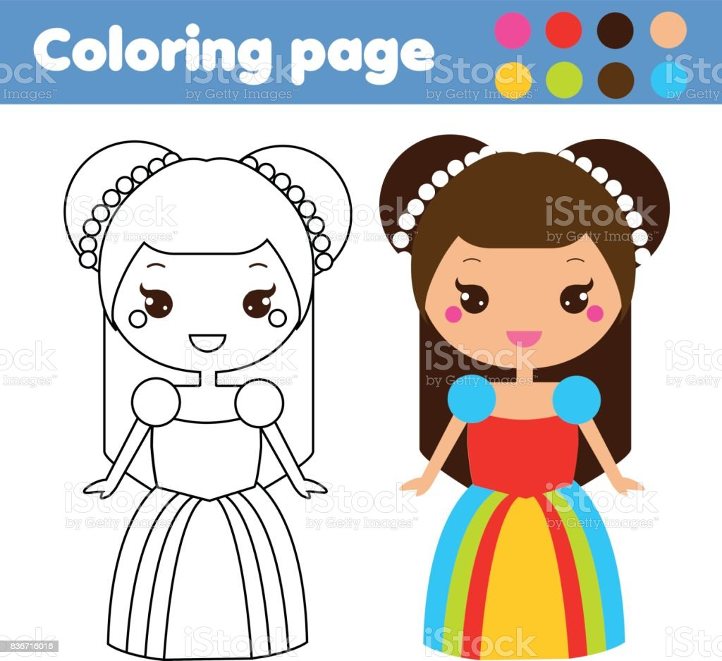 Coloring Page With Cute Princess Character In Kawaii Style Drawing