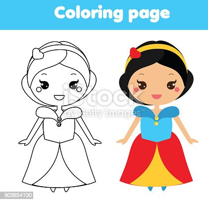 şirin Prenses Karakter Kawaii Tarzı Ile Boyama Sayfası çizim