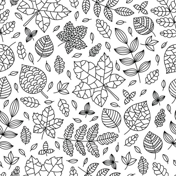 Coloring page with different leaves Coloring page with different leaves. Vector seamless pattern. Contour drawing. Perfect for anti-stress therapy, coloring books, background, texture, textile, wrapping paper, wallpaper coloring book pages templates stock illustrations