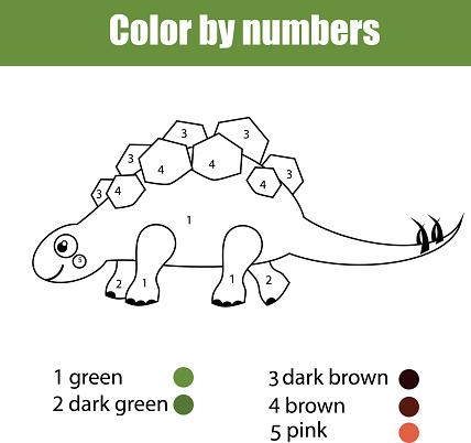 Dinozor Stegosaurus Ile Boyama Sayfasi Kids Hareket Cizim Sayi