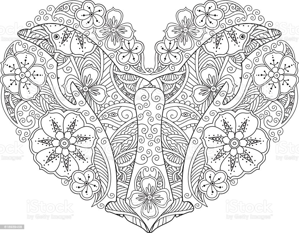 Coloring Page With Dolphin In Heart Shape Isolated On White Royalty Free