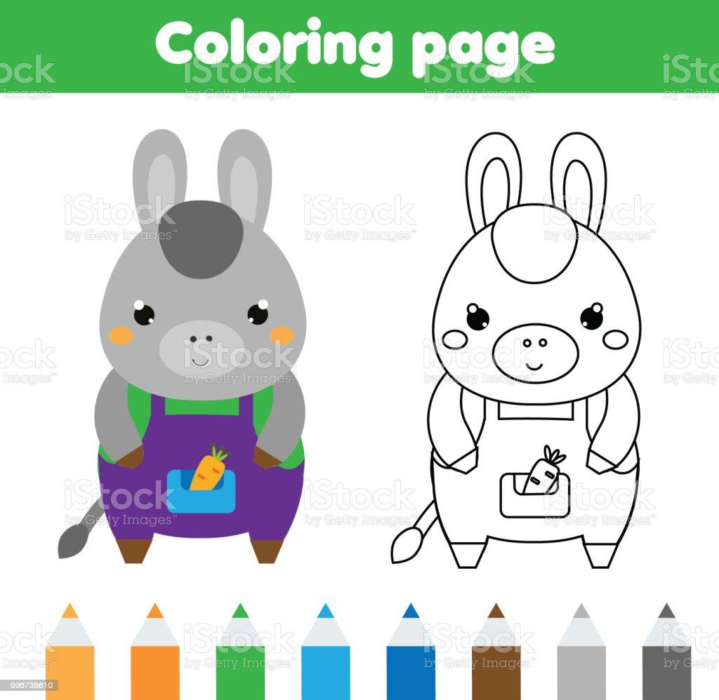 Eşek Ile Boyama Sayfası çizim Kids Hareket Yazdırılabilir Küçük