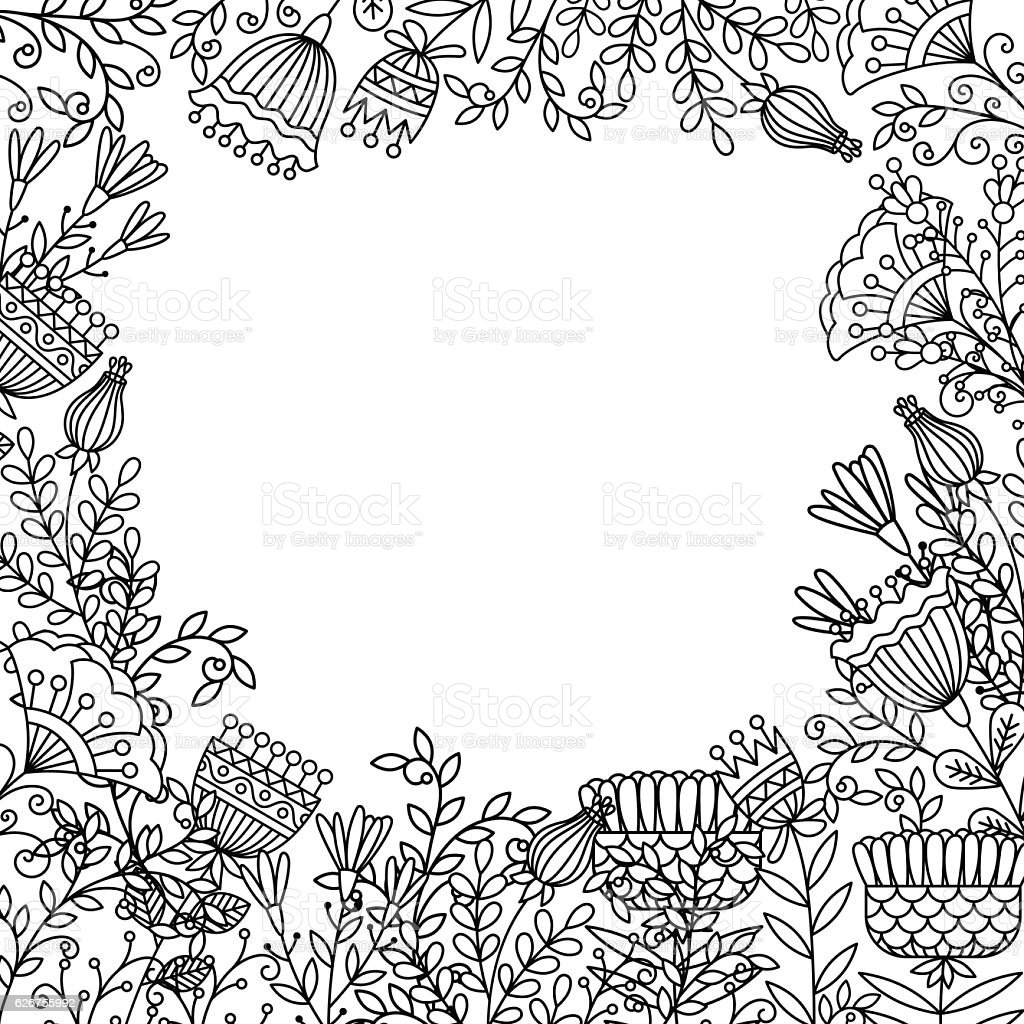 Coloring Page With Doodle Flowers Frame Stock Vector Art & More ...