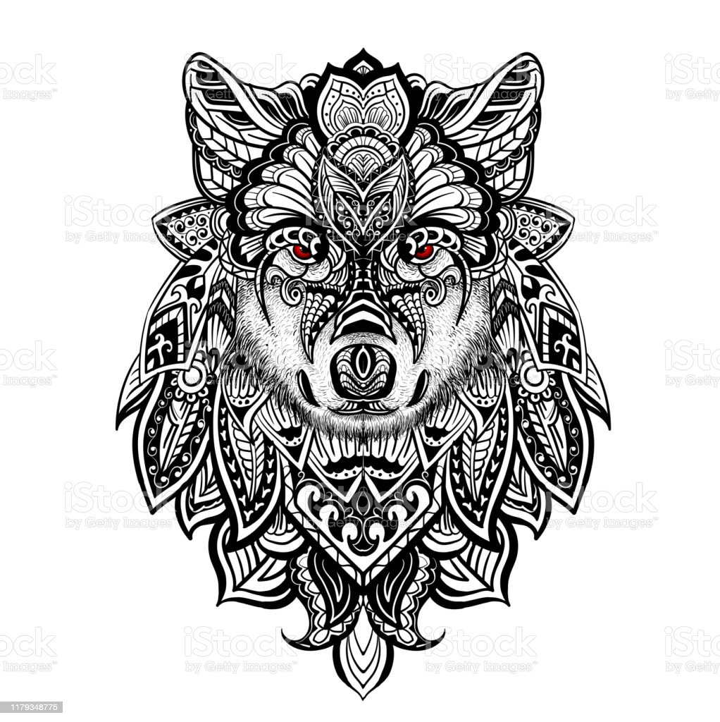 Coloring Page With Doodle Style Wolf Head Coloring Book For Adult
