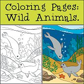Coloring page with example. Two little cute seals.