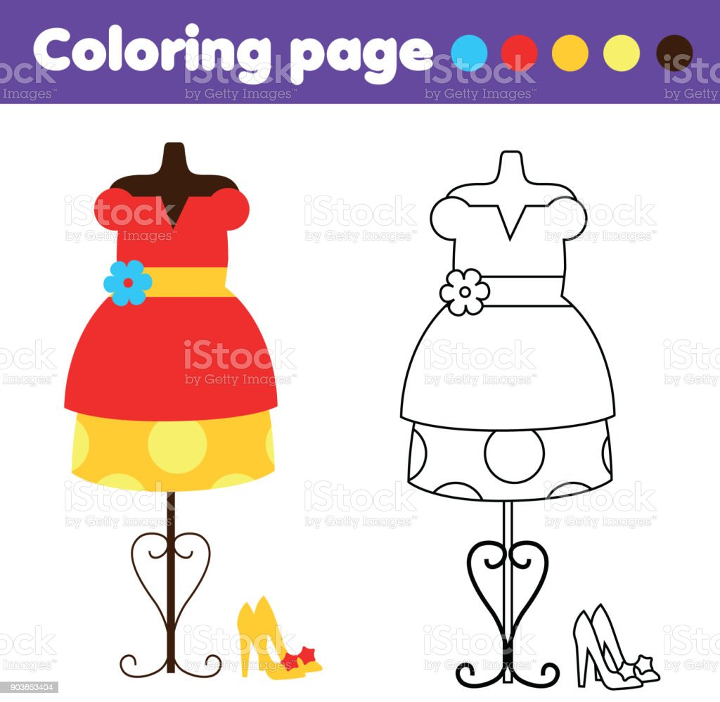 Coloring Page With Fashion Dress And Shoes Drawing Kids Game Printable Activity Stock Illustration Download Image Now Istock