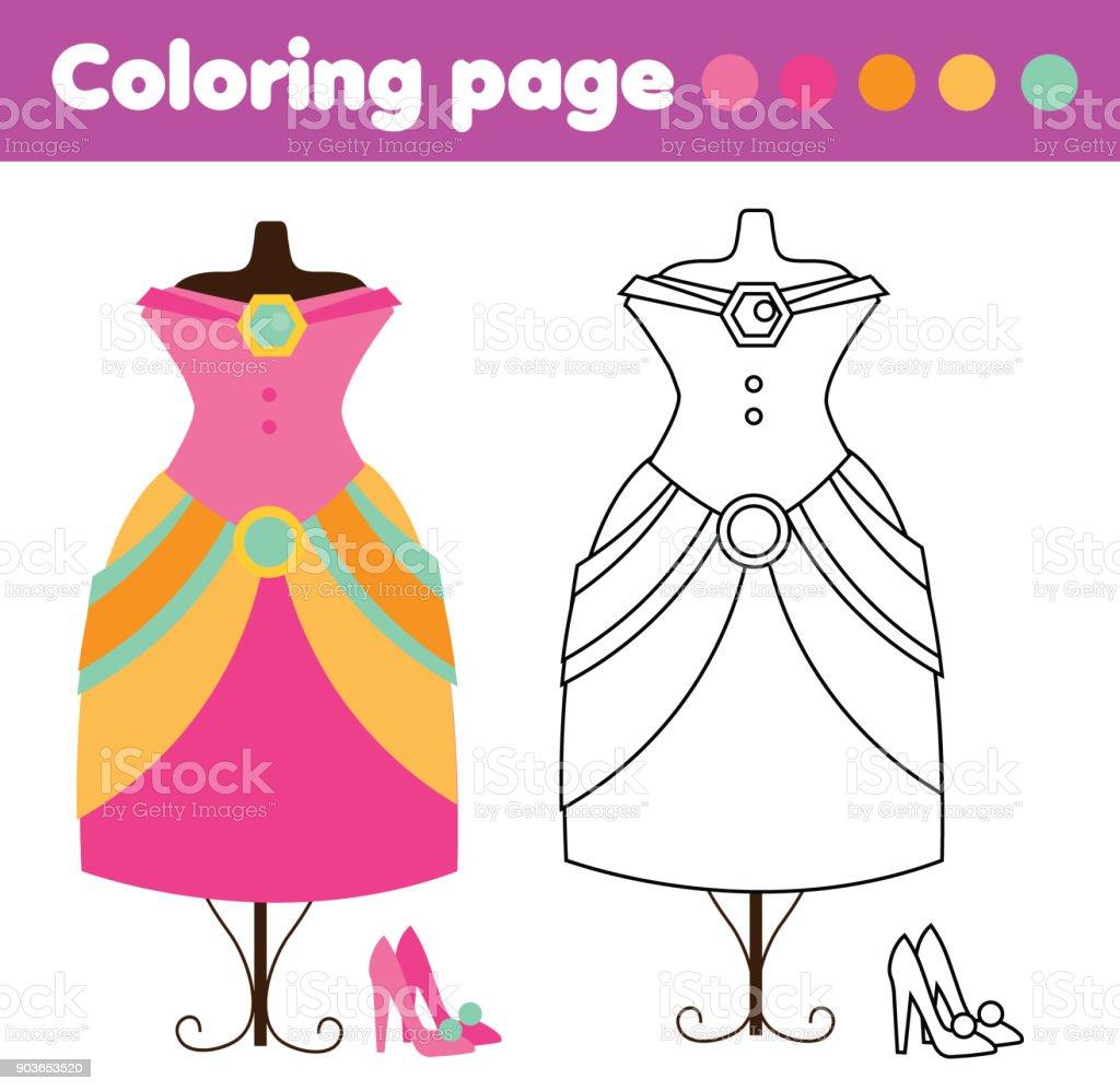 Moda Elbise Ve Ayakkabı Boyama Sayfası çizim çocuklar Oyun