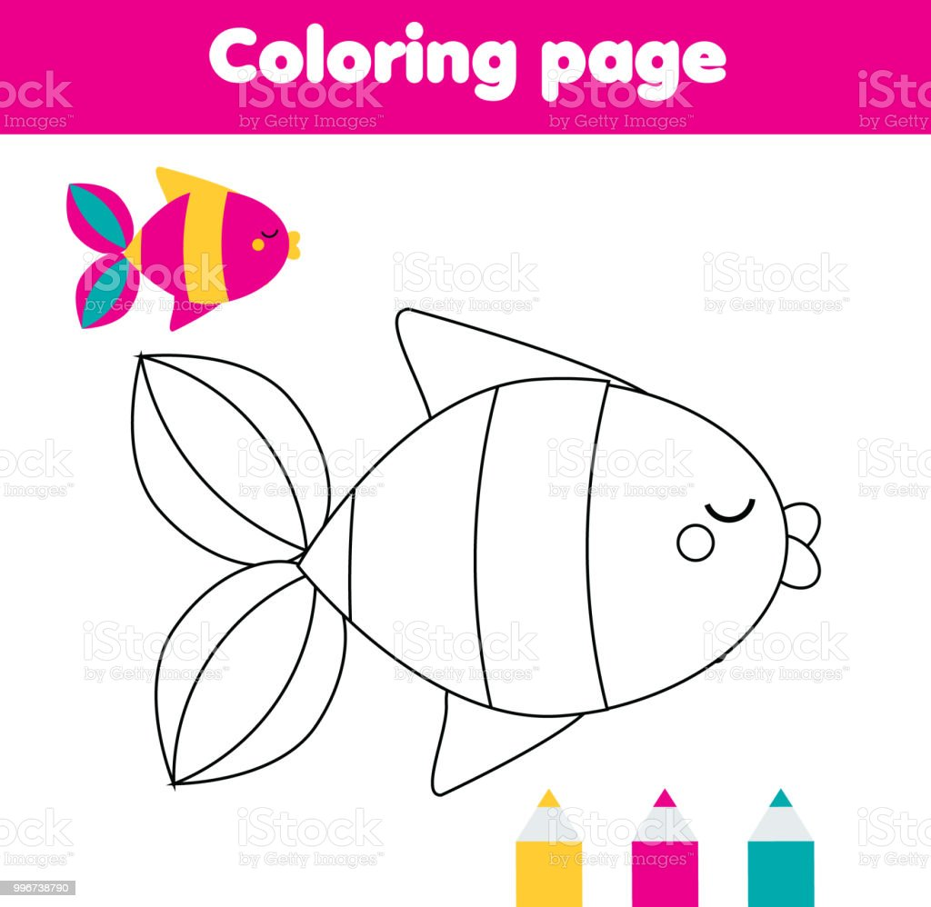 Coloring Page With Fish Drawing Kids Activity For Toddlers Stock ...