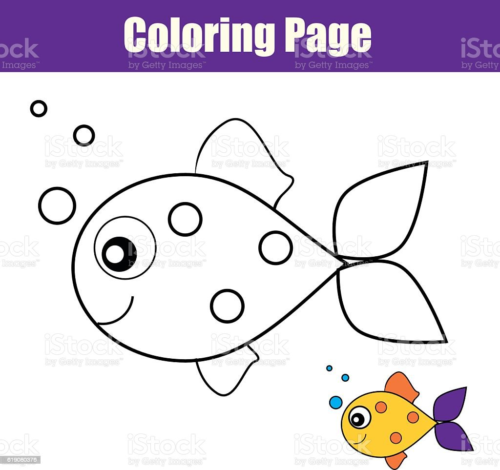 Coloring Page With Fish Educational Game Printable Drawing Kids ...