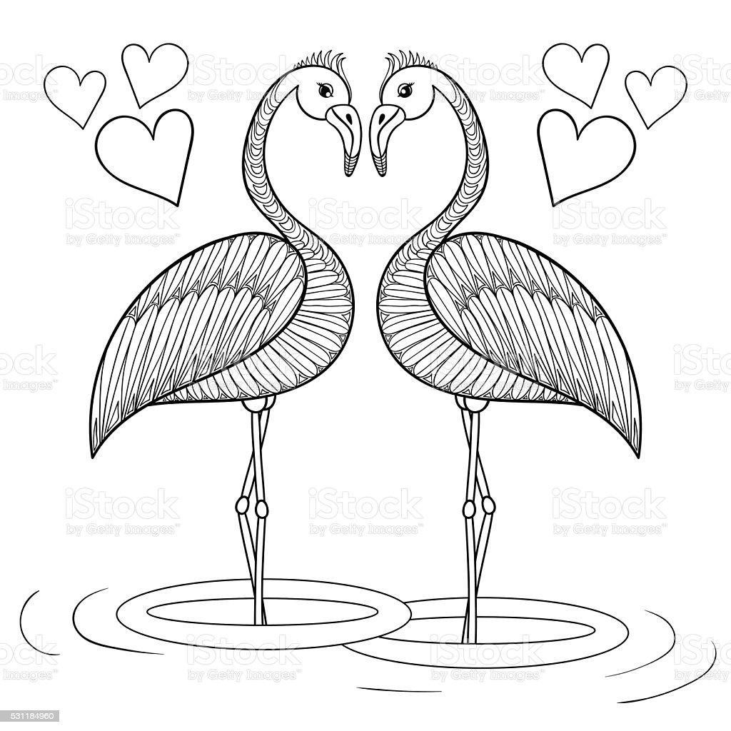 fenicottero pagina da colorare con uccelli in amore mano