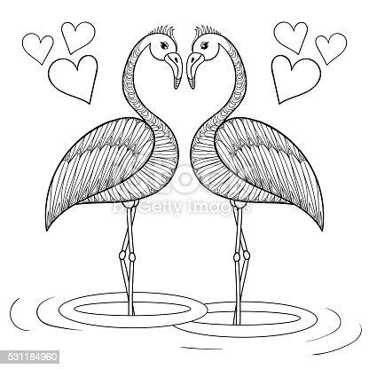 fenicottero pagina da colorare con uccelli in amore mano drawin immagini vettoriali stock e. Black Bedroom Furniture Sets. Home Design Ideas