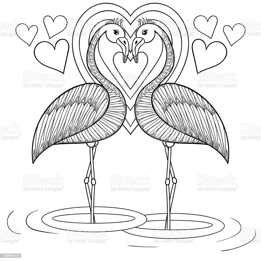 Ilustración de Página Para Colorear Con Flamingo En Amor y más banco ...