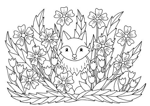Coloring Page With Flowers And Cute Fox Stock Illustration ...