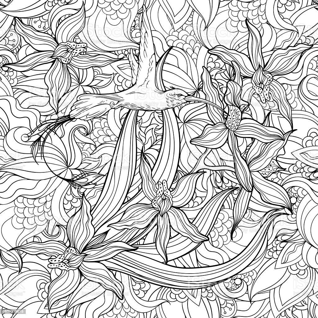 Página Para Colorear Con Flores Y Colibrí - Arte vectorial de stock ...