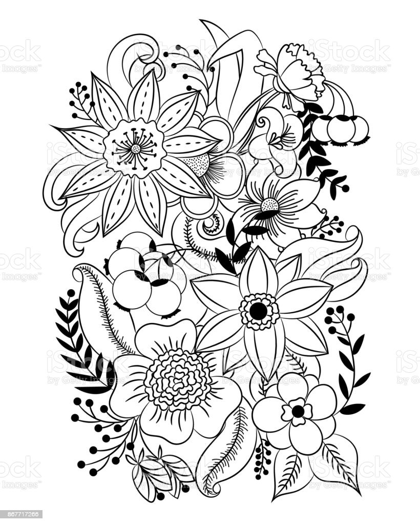 Coloring Page With Flowers And Leaves Stock Vector Art & More Images ...