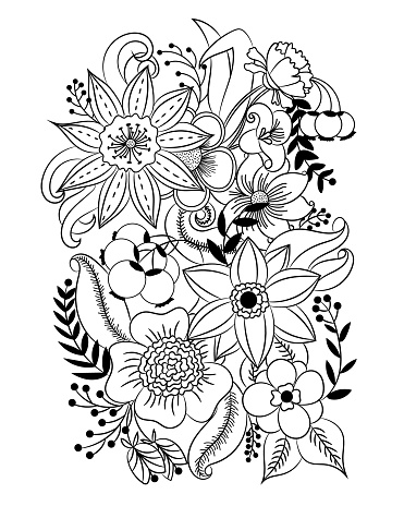 Coloring page with flowers and leaves