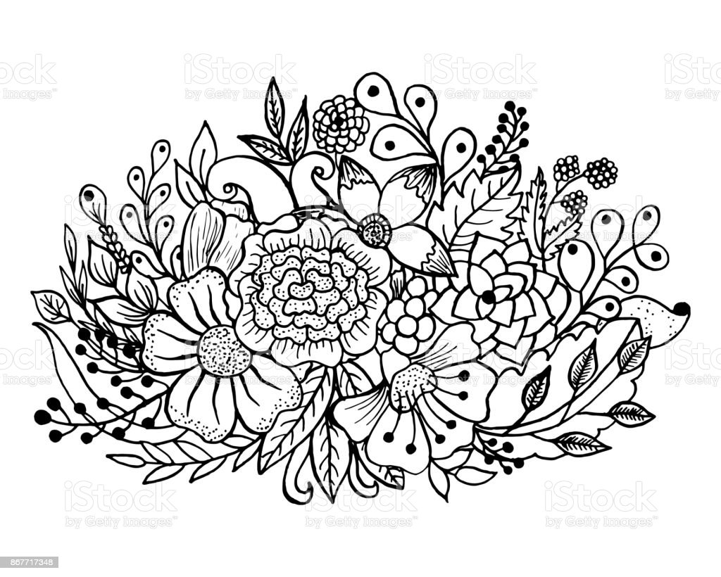 çiçek Ve Yaprakları Ile Boyama Sayfası Stok Vektör Sanatı Ağaç