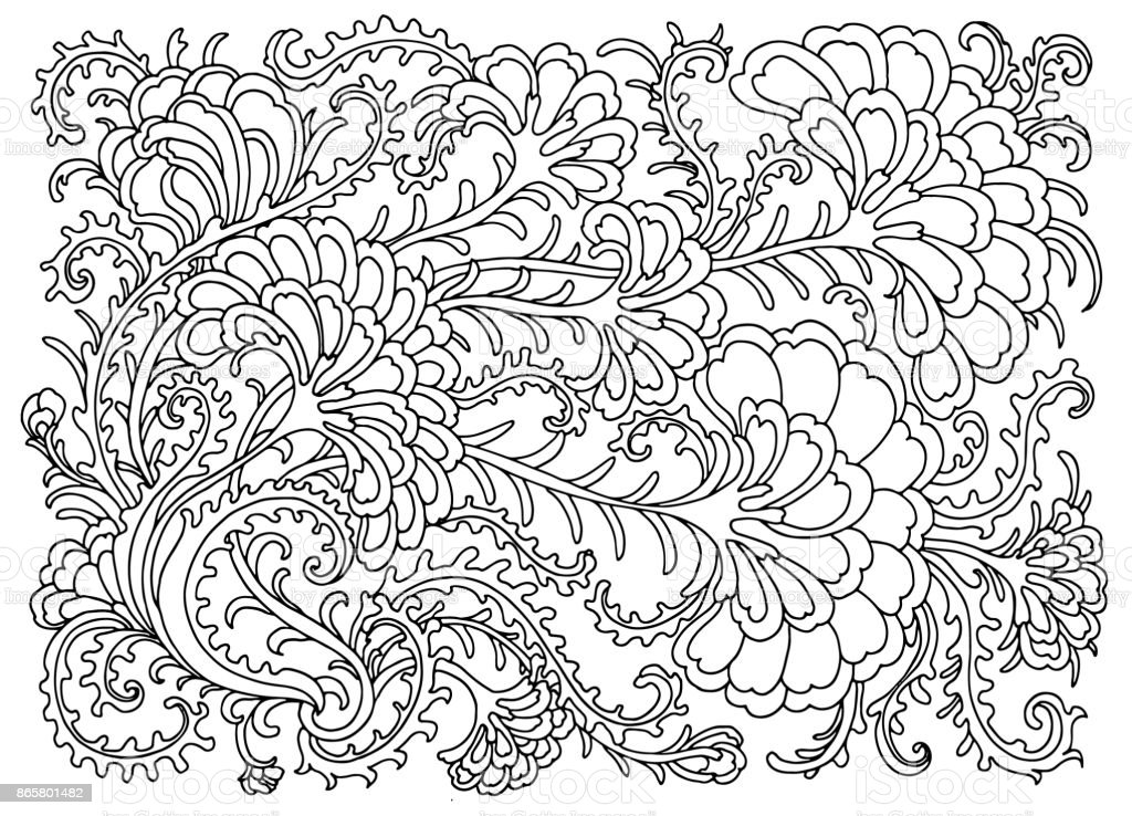Ilustración de Página Para Colorear Con Flores Y Plantas y más banco ...