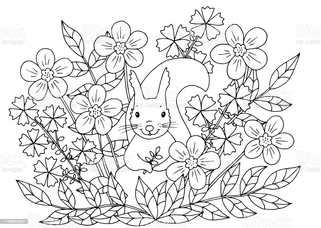 kleurplaat met bloemen en eekhoorn stockvectorkunst en