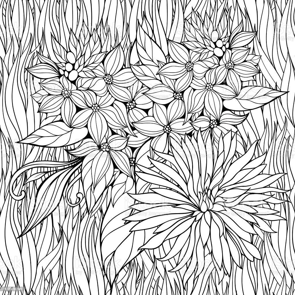 Página Para Colorear Con Flores En El Césped - Arte vectorial de ...
