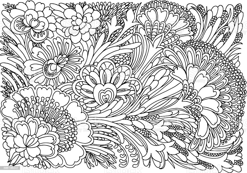 Coloring page with flowers Background with flowers and plants. Black and white doodle vector illustration. Coloring book for adult and older children. Coloring page. Outline drawing. Abstract stock vector