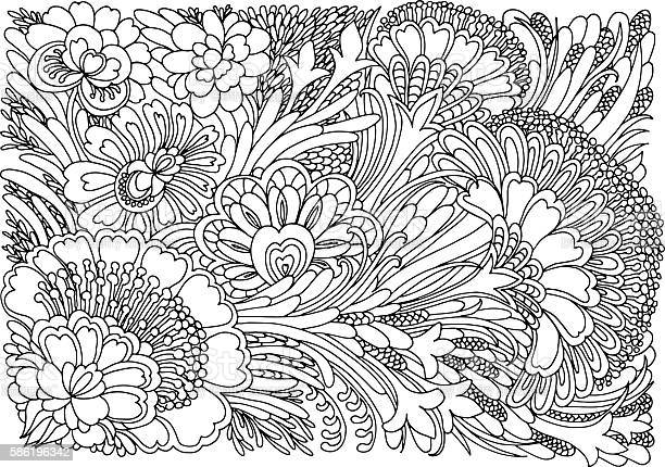Coloring Page With Flowers Stock Illustration - Download Image Now