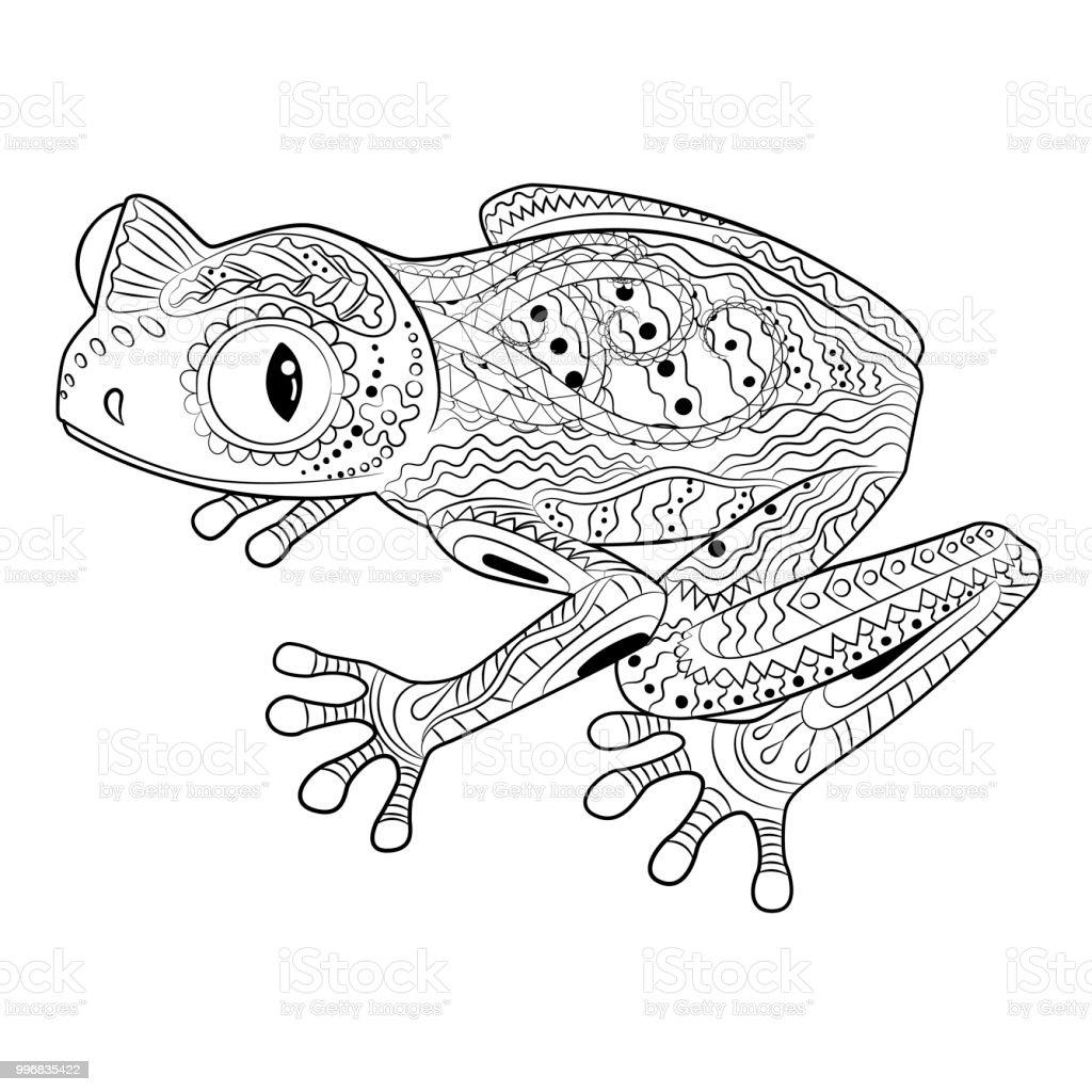 Malvorlagen Mit Frosch Im Gemusterten Stil Stock Vektor Art und