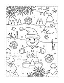 Coloring page with ginger man walking outdoor