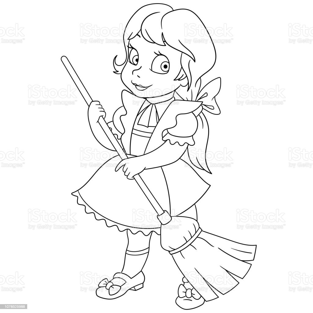 sweeping the floor coloring pages - photo#32
