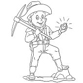 Coloring page with gold miner with pick axe