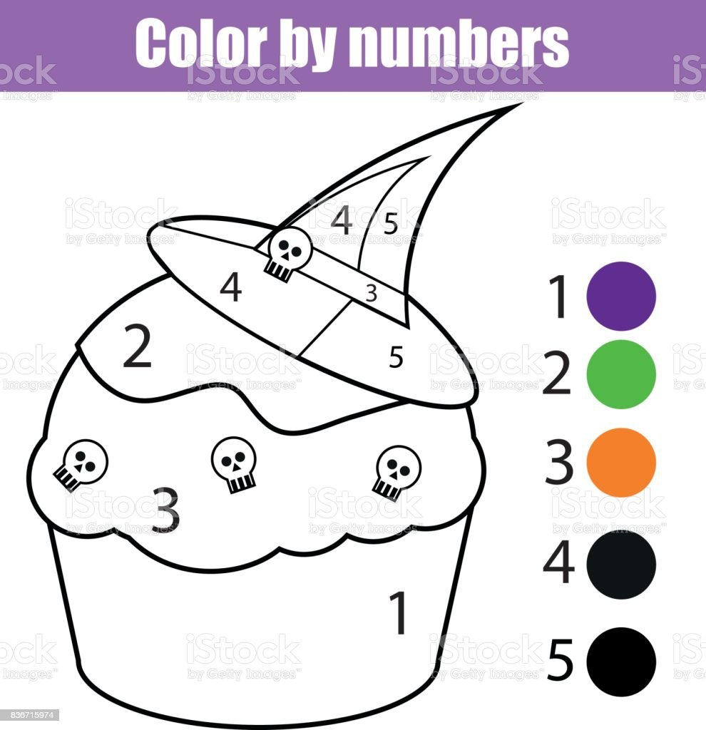 coloring page with halloween cupcake color by numbers educational children game drawing kids activity