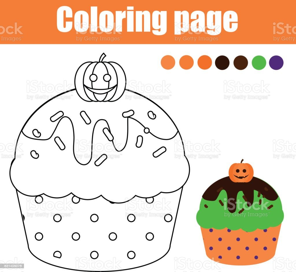 Coloring Page With Halloween Cupcake Drawing Kids Activity Stock ...